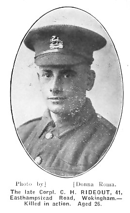 Charles Rideout died on the 25th September 1915 during the Battle of Loos. His body was never recovered