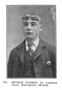August 1914. Arthur Turner, killed during the 'Retreat from Mons' and the first Wokingham man of the Great War to be killed.