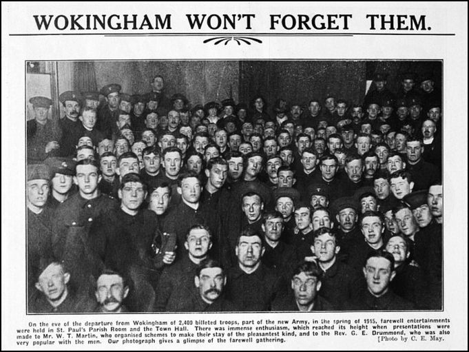 In 1915, Wokingham received 2,500 soldiers into the area. Wokingham's population  itself was only 4,500. Few of the men looking out of this photo would have survived the conflict. Click on picture to view full image.