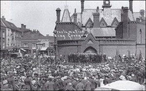 The Mayor proclaims the George V as King in 1910. Both men were to face extraordinary challenges in the coming years.