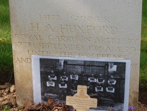 Uncle Harry Huxford's grave at heilly station cemetery
