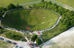 Lochnagar Crater, one of the huge mines which were exploded by the British during the Somme, 1916.