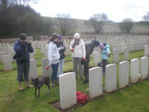 family at Flat Iron Copse cemetery