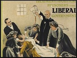 Force feeding the Suffragettes in prison. The Edwardian period was a time of tumulutous change even before the outbreak of War.