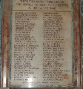 Close up view of the names listed on St Paul's Church Memorial