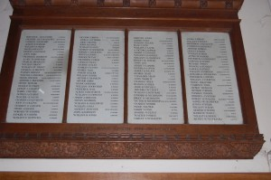 A named tablet is placed inside of All Saints church