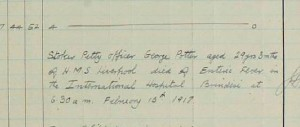 HMS Liverpool log report of George Potter's death in 1917