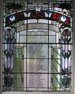 The light beauty of the stained glass memorial inside St Sebastian's Memorial Hall (built by the Palmer family after the war)