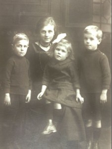 Minnie Churcher with three of her children who lost their father from the bombing.