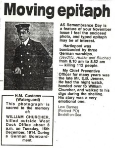 A letter written in 1990 to a local newspaper. William's loss was badly felt by his colleagues.