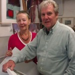 Nicholson Grand Daughter, Jenny Woodhouse will be meeting her cousin Victor for the first time. Photo here with partner David Moore, both are artists in St Ives Cornwall.