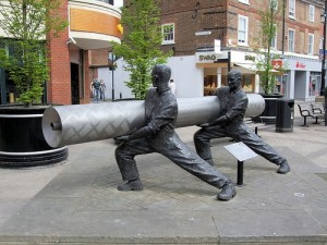 The lino factory is recognised as an important part of Staines heritage with this sculpture set in the High Street.