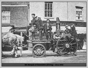 The Marquis of Downshire, one of the most wealthy men in Britain, sits proudly at the helm of Wokingham's fire engine