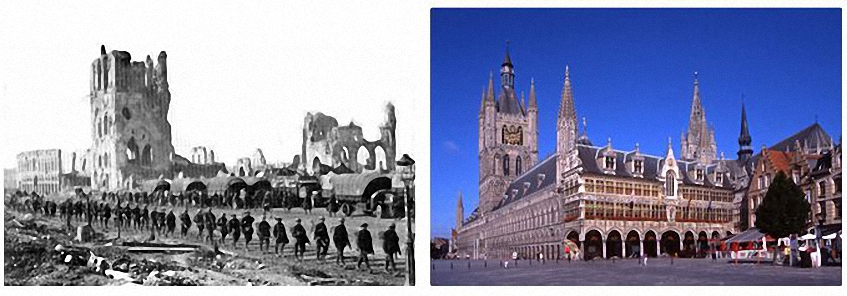 Cloth Hall in the centre of Ypres was destroyed in the Great War. It was rebuilt from 1928 using money from German Reparations. Thanks to Keith Browning for this photograph
