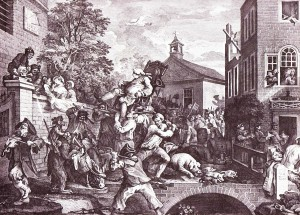 A scene of typical chaos on a British election day, by William Hogarth