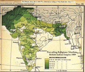 Percentage of Muslims in India 1909. Click to enlarge