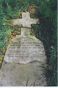 The fallen headstone for Frederick Sims Price at All Saints, Wokingham
