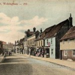 Post card of Peach Street Wokingham which includes 52 Peach Street (blue house) Photo from the Goatley Collection