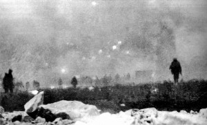 Photograph of actual attack from the British at Loos. The first attack was made under cover of smoke