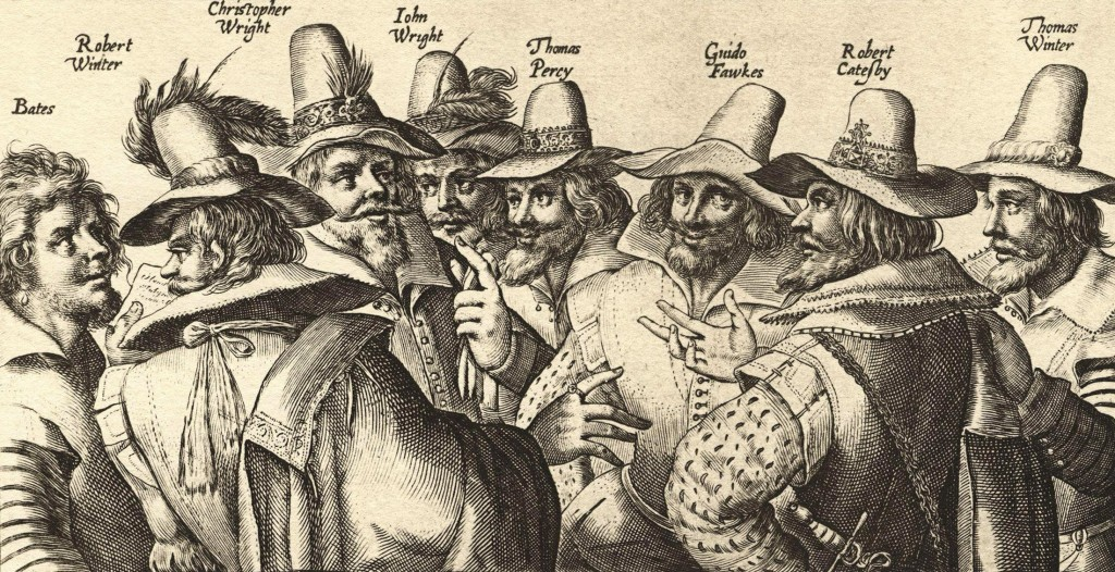 Guy Fawkes was part of a group of conspirators. Third from the right