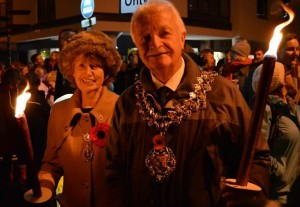 Every year, Wokingham's Mayor leads the candlelit procession to the Cantley Fields bonfire